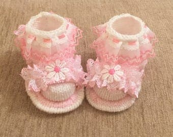 Baby knitting pattern - Lacy Sandals with Lacy Socks size 0-6mths