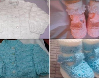 Baby Knitting Patterns Waffle Cardi with TBar Shoes and Socks size 0-3mths