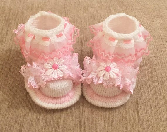 Knitting Pattern For Sandal Socks : Baby knitting pattern Lacy Sandals with Lacy Socks size