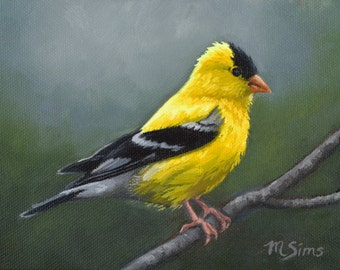 Goldfinch Art Print - bird painting - American Goldfinch - open edition print