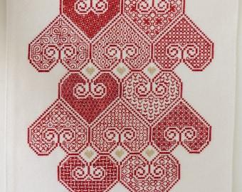 Blackwork pattern. Blackwork Hearts embroidery sampler. Blackwork embroidery. Cross stitch hearts. Embroidery pattern. PDF download