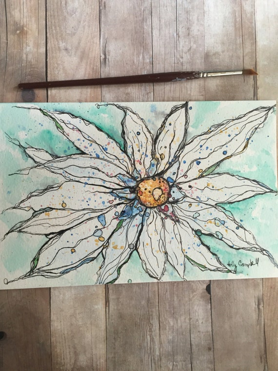 Daisy Painting, Daisy Watercolor, Original Watercolor and Ink Painting, Watercolor Painting, Daisy Watercolor and Ink