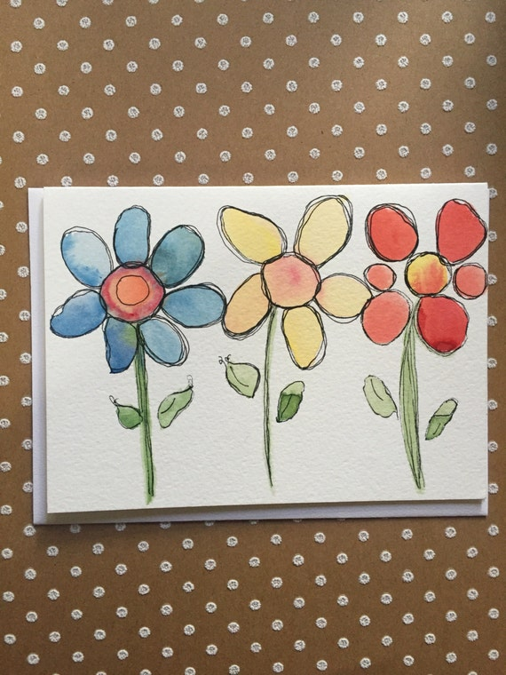 Watercolor Flower Card, Hand Painted Card, Original Watercolor Flower Card, Homemade Flower Card