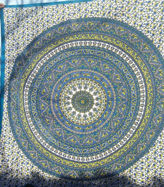 Blue Purple Yellow Elephant mandala Peacock style throws tapestry wall hanging boho hippie