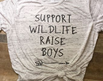 Support wildlife, raise boys// boy mom tee// unisex adult tee