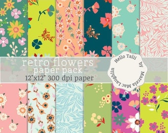 Flowers Digital Paper RETRO FLOWERS Paper Vintage Flowers Backgrounds Floral Pattens Spring Flowers Green Pink Teal Orange Brown Fuchsia Red