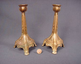 Brass * Vintage Old Collectible * Three Legged Candle Stick Holders * Pair