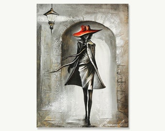 Painting Modern Oil Painting Girl Walking in Paris Gold Silver painting oil on canvas Wall Art Pallet Knife Painting
