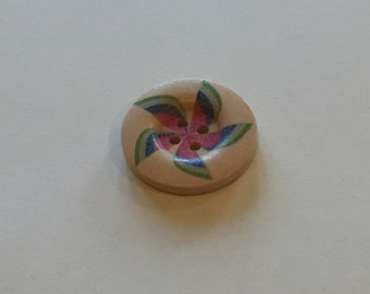 Beautiful 4 hole button with coloured pinwheel pattern, pack of 10. 25mm.