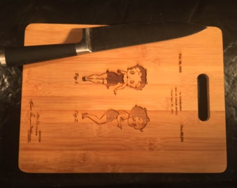 Laser Engraved Patent Drawing Cutting Board - 1932 Betty Boop Doll