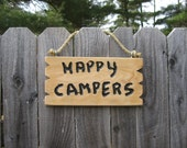 """Personalized sign """"Happy Campers"""" camp sign housewarming gift rustic cabin sign home decor wall decor inexpensive sign happy sign"""