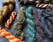 Yarn pack for knitting, crochet, weaving or felting. Wool, mohair, viscose ribbon, merino roving - Australian Bush mix