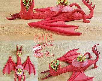 Fondant Dragons Love Tacos Inspired Cake Topper (MADE TO ORDER)