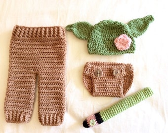 Star Wars Yoda Costume - Hand Crochet - Sold as Set - or Individually - Diaper Set Newborn-3 months - Hat all sizes- washable - Halloween
