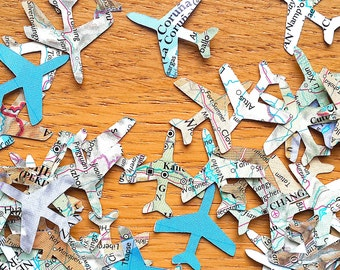 World Atlas  Plane Confetti Shapes - Bonvoyage  Paper Planes - Travel Themed Party Confetti- Atlas Party Table Decor