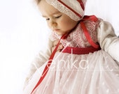 Baby dress with child's vest, fluffy baby girl dress ivory and raspberry red.