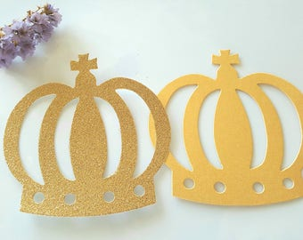Crown die cuts,Gold crown paper,Crown cut outs,Crown party favors,boy birthday decoration,Prince party decorations,