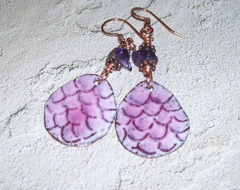 Enameled Copper Dragon Scale Earrings with Amethyst