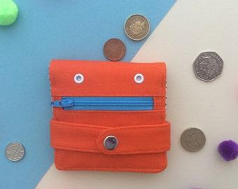 Orange Hug Monster Wallet, Coin purse, Handmade, silkscreen print