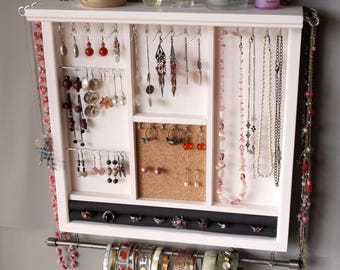 Jewelry holder. earrings display with shelf. WHITE jewelry storage.Wooden wall mounted earring holder organizer. earrings storage rack.