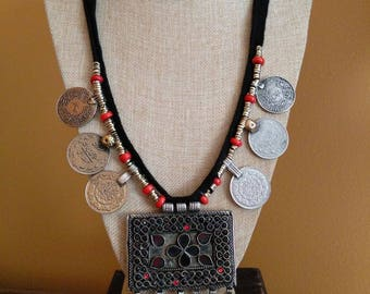 Vintage Kuchi Square Pendant Coin Necklace Tribal Style Boho Chic Jewelry 31.5""