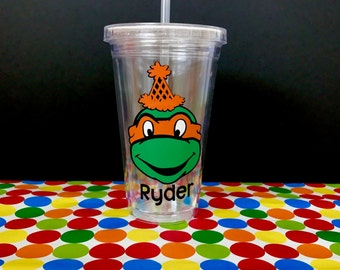 Personalized Ninja Turtle Birthday Tumbler (multiple color options)