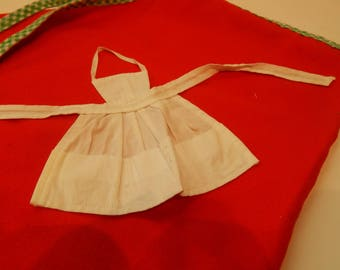Vintage Barbie Q White Apron 962 Mattel 1962 With One Spoon with Red Handle