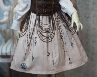 "BJD doll MSD clothes Minifee LittleGem KidDelf Volks clothing steampunk skirt printed cotton ""Chains"""