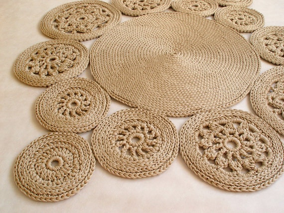 beige baumwollschnur runder teppich teppich h keln h keln. Black Bedroom Furniture Sets. Home Design Ideas
