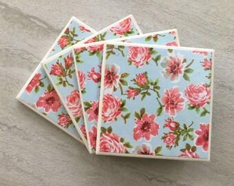 Floral Coaster, Blue Coaster, Pink Coaster, Pink Flowers, Tile Coasters, Ceramic Coasters, Coaster Set, Handmade Coasters, Flowers