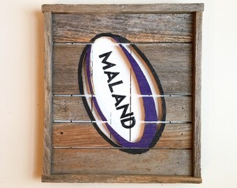 Wooden Rugby Ball Sign with Personalized Last Name from Reclaimed/Weathered Wood