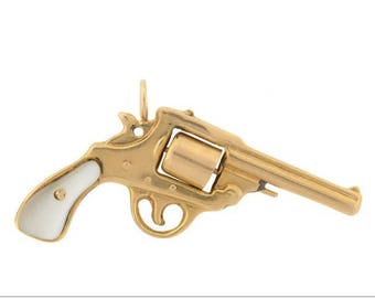 Victorian 14k Gold and Mother Of Pearl Pistol Pendant
