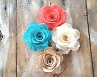 Burlap Flower, Aqua Flower, Coral Flower,  Cake Decorations, Rustic Flower, Country Wedding