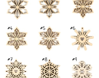 "Set of Wooden Snowflake Ornaments - Wood Christmas Decor ,  made of natural wood,  3"" diameter"
