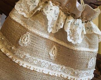 Burlap and Vintage Lace Wedding Money Dance Bag