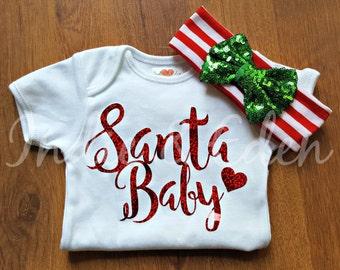 Christmas Baby Red Glitter Santa Girls Headband Vest Baby Grow Babygrow Gift Photo Prop