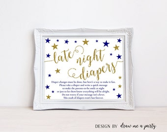Twinkle Little Star Late Night Diapers , Boy Baby Shower Sign , Words of The Wee Hours , Diaper Thoughts Sign , Printable , DIY