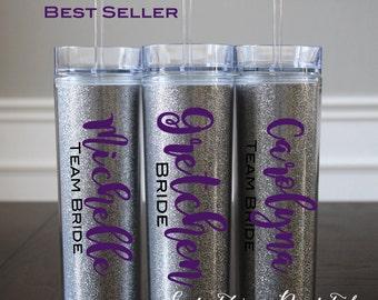 Bridesmaid Gift Ideas Gift Women Flower Girl Gift for Bride Gift Ideas for Women Friends Mom Aunt, Glitter Monogram Tumbler, Glitter Tumbler