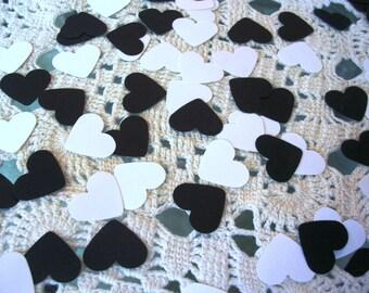 Heart Confetti -  Black White Kraft Wedding Favors - Photo Props - Party Confetti - Table Decorations - 200 Count