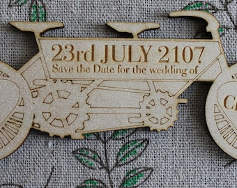 Daisy Daisy personalised tandem Bicycle Made for Two wooden Save the Date Wedding or Civil Partnership Fridge Magnets