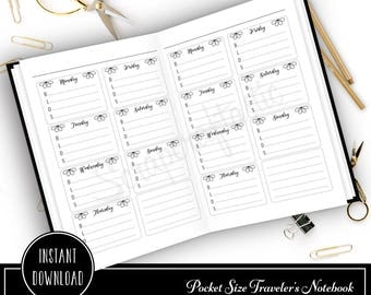 Weekly Meal Tracker Pocket Size Traveler's Notebook Fauxdori Printable Planner Inserts