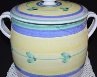 Caleco Cookie Jar / yellow / pottery / blue / green / 1970s / cookie jar / cookies / Caleco / jar / cookie storage / kitchen / pink / white