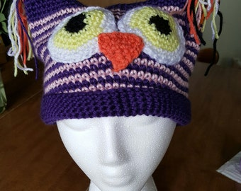 Crocheted Owl Hat Adult Sizes MADE TO ORDER