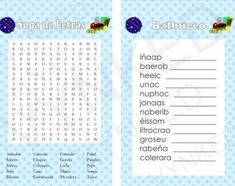 2-in-1 games Sopa de letras and Balbuceo Baby Shower  (Train)