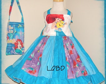 Mermaid Princess Ariel Dress and Purse - fits approx 3 3T - Birthday Party - Beach Cruise Pageant - Twirl Under the Sea