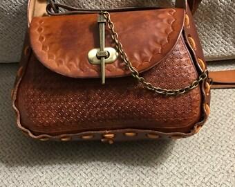 70's Style Tooled Handbag