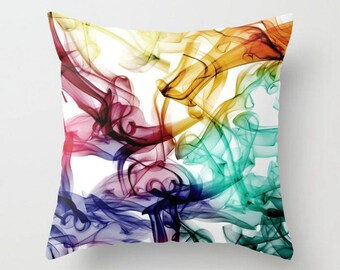 Colorful Pillow Cover, White Pillow, Red Yellow Purple Teal Pillow, Designer Pillow, Cushion Cover, Decorative Toss Pillow Many Sizes