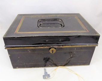 "Black Metal Bank Box, With Key, 11"" Wide Bank Box, Antique Black Metal Box"
