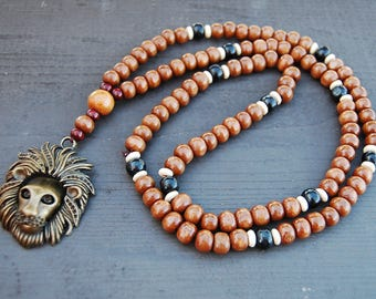 Lion Necklace,African Mens Wooden Necklace,Bronze Lion Pendant,Mens Necklaces,Beaded Tribal African Jewelry,Lion Head,Leo,Ethnic Necklace