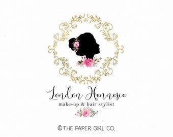beauty shop logo make-up artist logo stylist logo design hair stylist logo make up artistry logo premade logo design gold foil logo